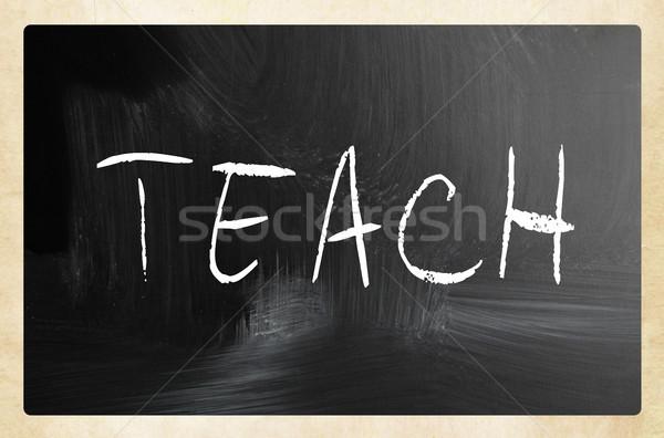 Stock fotó: Tanulás · kézzel · írott · fehér · kréta · iskolatábla · fekete