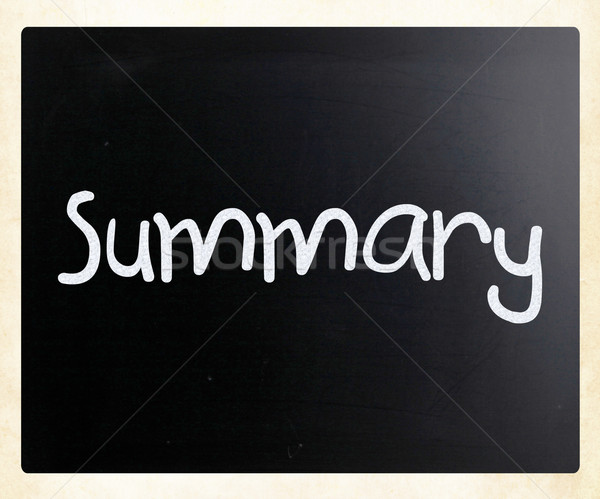 'Summary' handwritten with white chalk on a blackboard Stock photo © nenovbrothers
