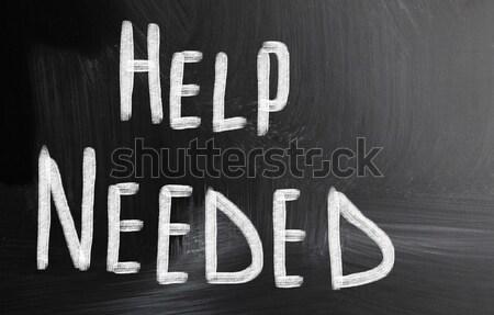 Kryzys biały kredy tablicy drewna Zdjęcia stock © nenovbrothers