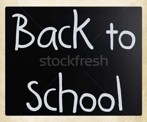 Zdjęcia stock: Powrót · do · szkoły · biały · kredy · tablicy · podpisania