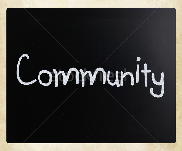 Közösség kézzel írott fehér kréta iskolatábla papír Stock fotó © nenovbrothers