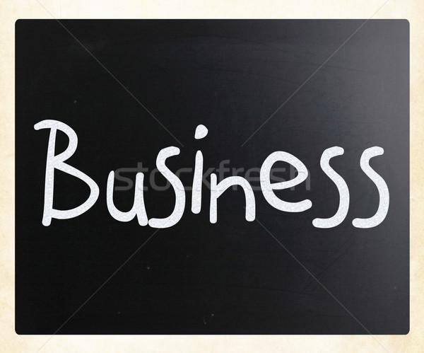 Foto d'archivio: Parola · business · manoscritto · bianco · gesso · lavagna