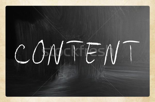 Kelime içerik beyaz tebeşir tahta Stok fotoğraf © nenovbrothers