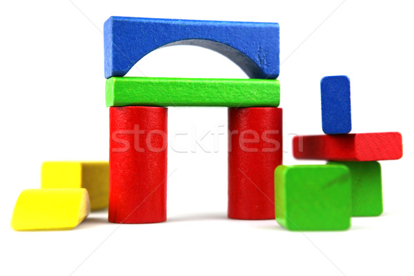 Houten bouwstenen geïsoleerd witte hout achtergrond Stockfoto © nenovbrothers