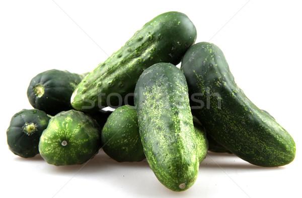 Vers komkommers geïsoleerd witte voedsel natuur Stockfoto © nenovbrothers