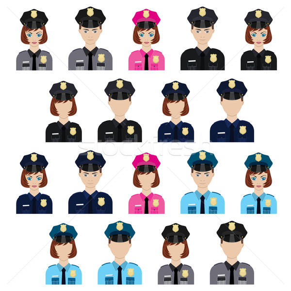 Set of policemen icons. Stock photo © Neokryuger