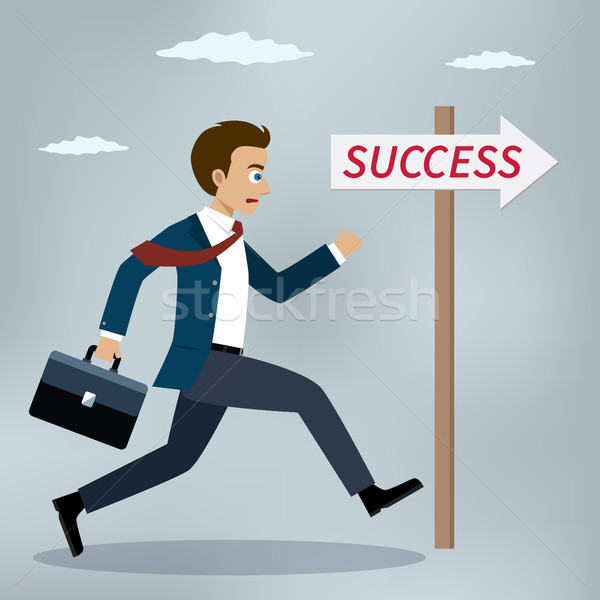 Foto stock: Empresário · corrida · sucesso · assinar · vetor · illustrator
