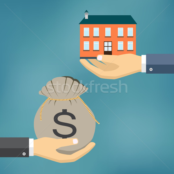 Hands with house and money  bag. Stock photo © Neokryuger