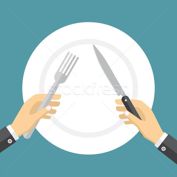 Empty plate and hands holding knife and fork. Stock photo © Neokryuger