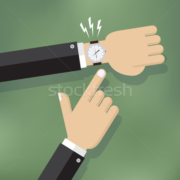 Hand pointing at watch. Stock photo © Neokryuger