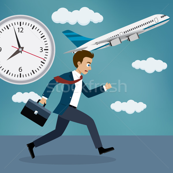 Businessman running behind a plane. Stock photo © Neokryuger