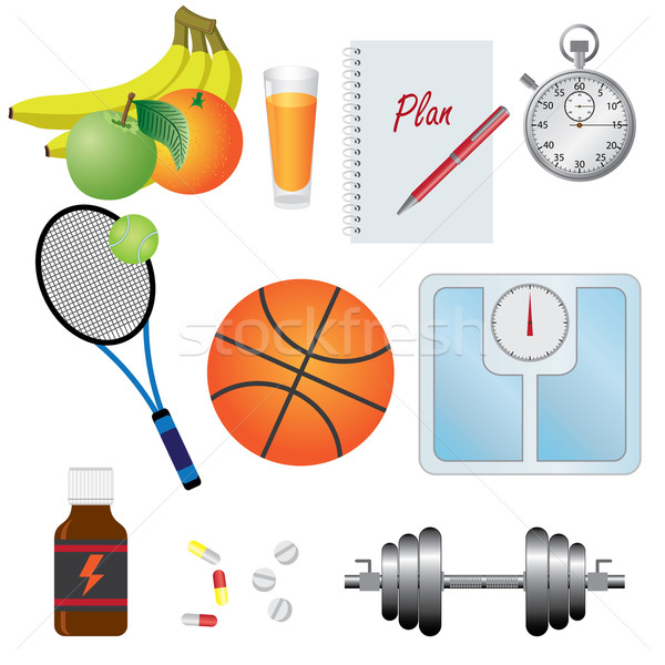 Stock photo: Set of objects for fitness.