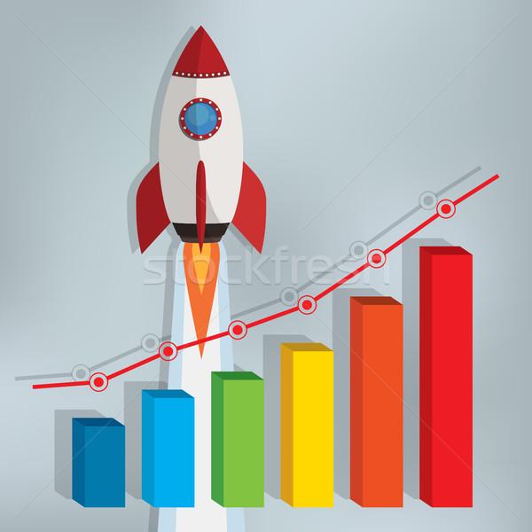 Działalności wykres rakietowe w górę szary rynku Zdjęcia stock © Neokryuger