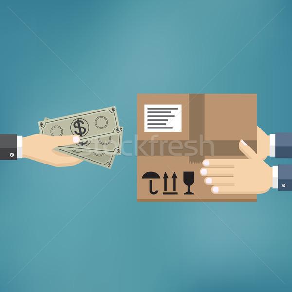 Házhozszállítás szolgáltatás emberi kéz tart pénz illetmény Stock fotó © Neokryuger