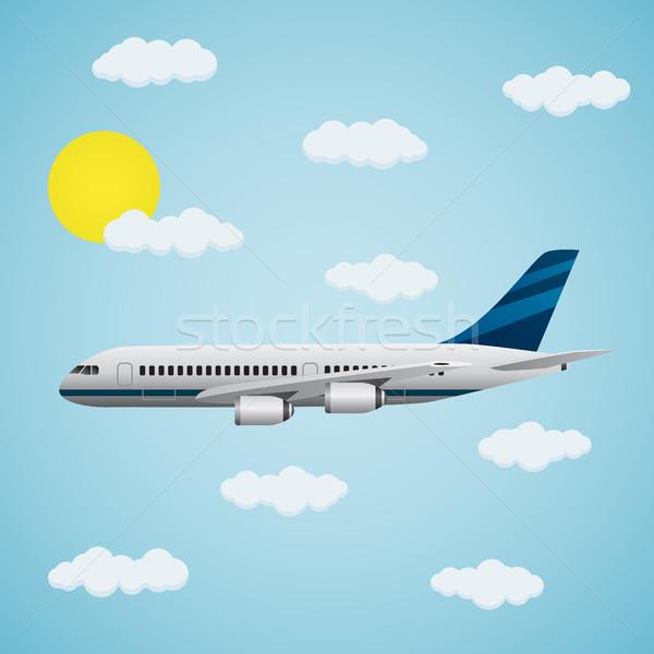 飛行機 空 現代 雲 青 旅行 ストックフォト © Neokryuger