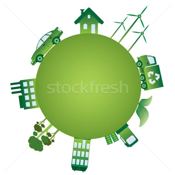Zielone świat planety ekologia obiektów domu Zdjęcia stock © Neokryuger