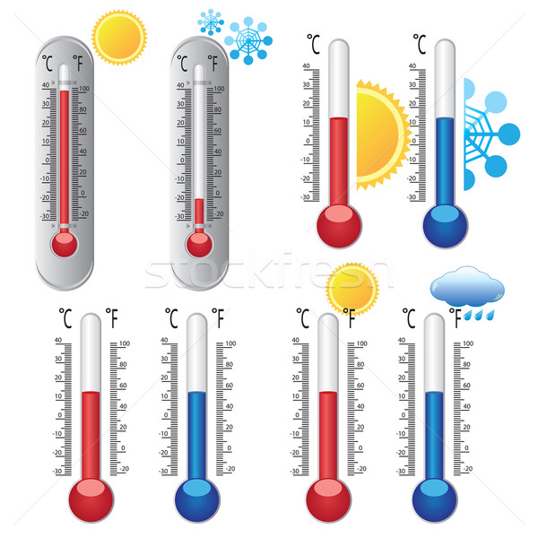 Thermometers with weather icons. Stock photo © Neokryuger