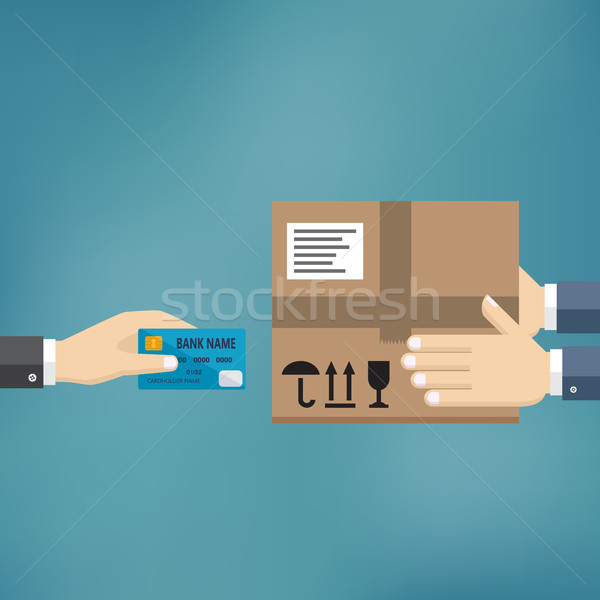 Hand hold credit card and pay for the package. Stock photo © Neokryuger
