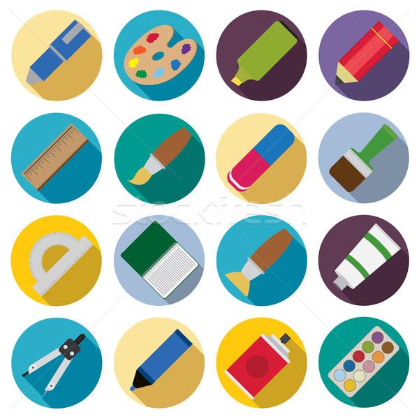 Zdjęcia stock: Zestaw · malarstwo · ikona · pióro · farbują