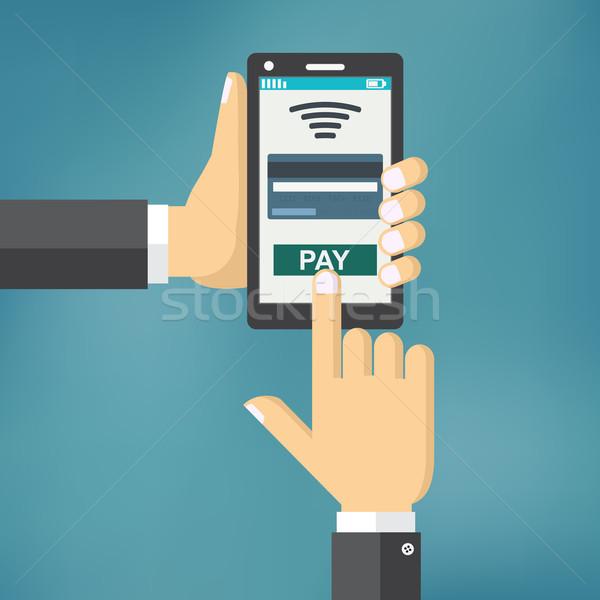 Hand telefoon app mobiele betalen Stockfoto © Neokryuger