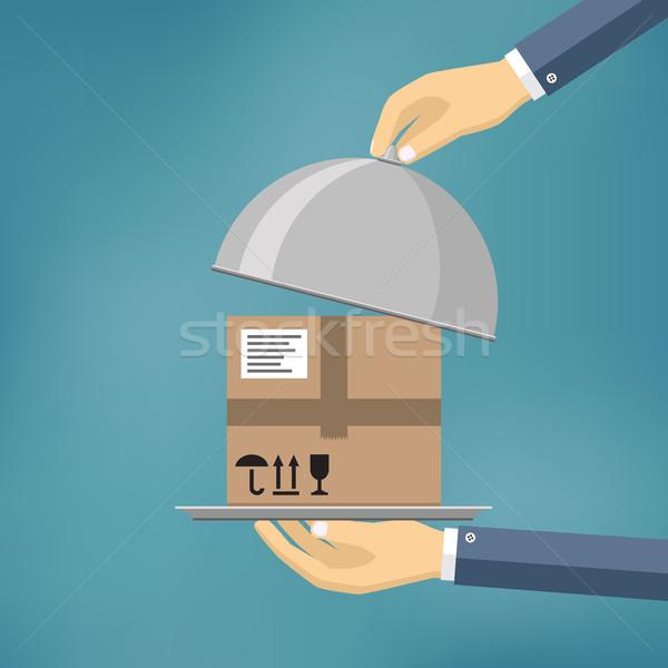 Hand pakket levering mail winkel Stockfoto © Neokryuger