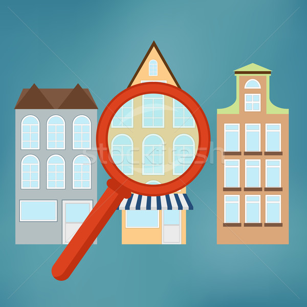 Real-estate concept with magnifying glass. Stock photo © Neokryuger
