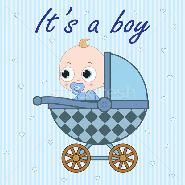 Baby boy in baby carriage Stock photo © Neokryuger