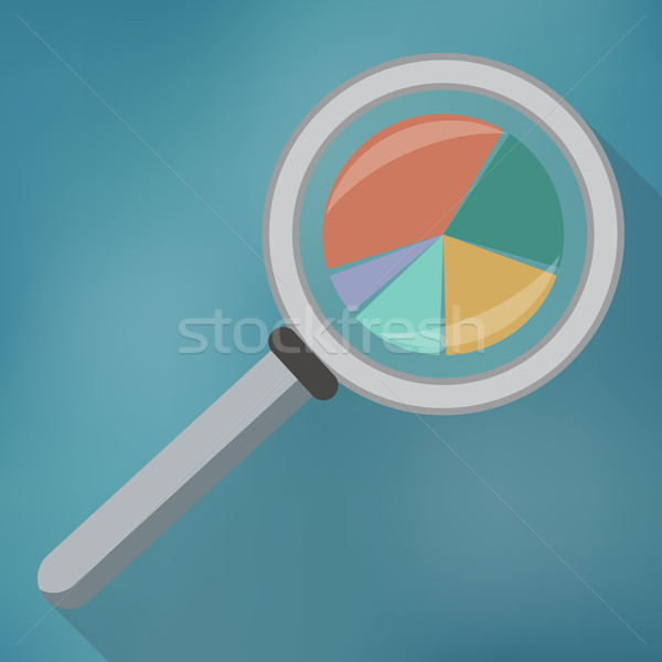 Magnifying glass icon and pie chart. Stock photo © Neokryuger