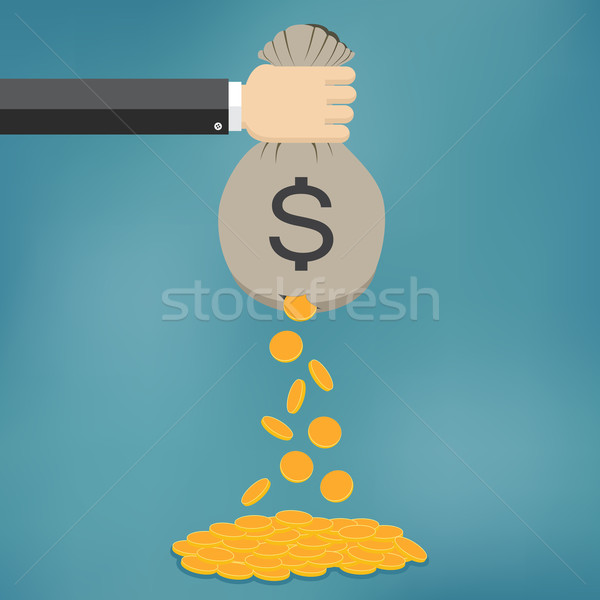 Gouden munten vallen uit geld zak Stockfoto © Neokryuger
