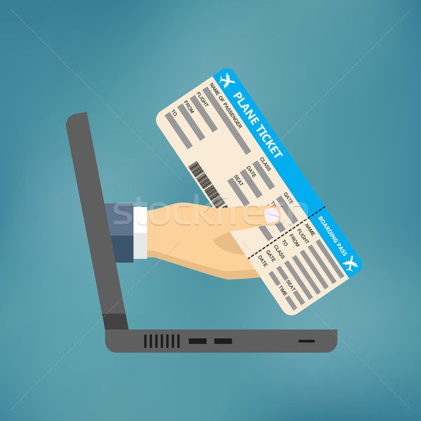 Hand coming out of the laptop with ticket. Stock photo © Neokryuger