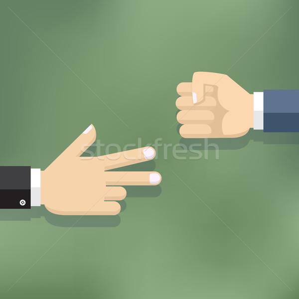 рук играет бумаги рок ножницы игры Сток-фото © Neokryuger