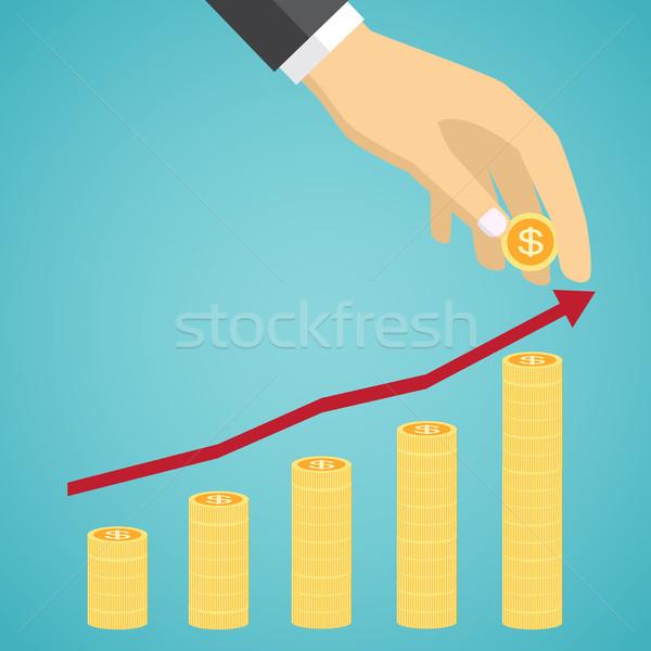 Vetor financeiro crescimento dourado moedas verde Foto stock © Neokryuger