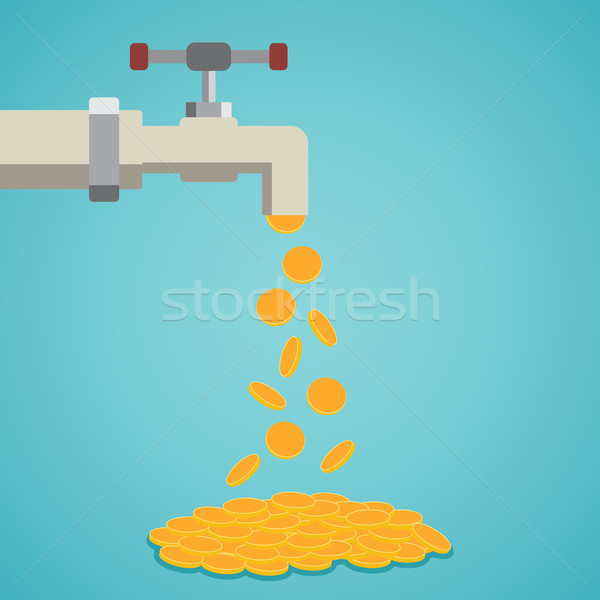 Golden coins fall out of the tap. Stock photo © Neokryuger