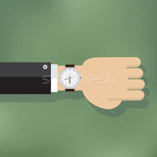 Foto stock: Ilustração · mão · humana · ver · reunião · relógio