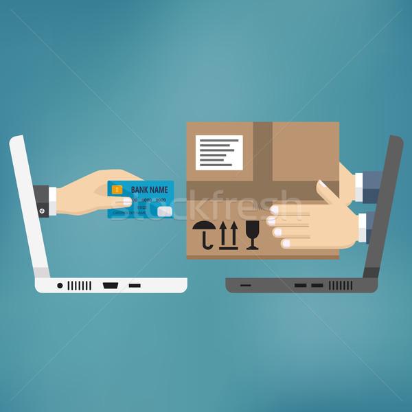 Zakupy online szybko stanie dwa laptopy ręce Zdjęcia stock © Neokryuger