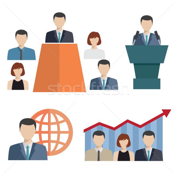 Ludzi biznesu ikona biały biuro konferencji Zdjęcia stock © Neokryuger