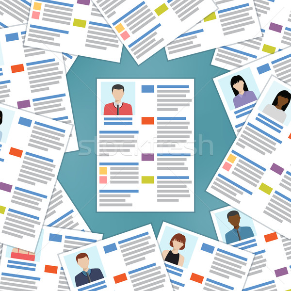 Group of resumes with one in the center. Stock photo © Neokryuger