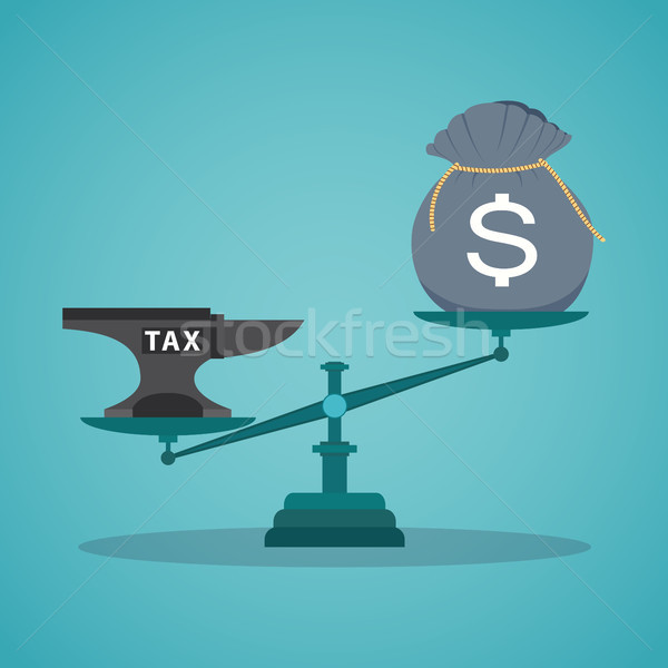 Concept balancing with income and tax. Stock photo © Neokryuger