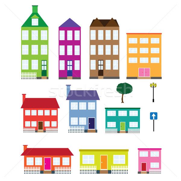Foto stock: Conjunto · casas · árvore · lâmpada · placa · sinalizadora · branco