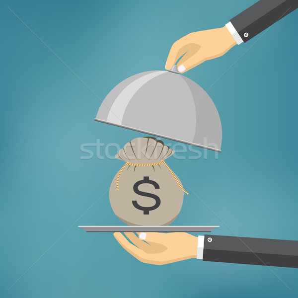 The businessman offering money on the serve plate. Stock photo © Neokryuger