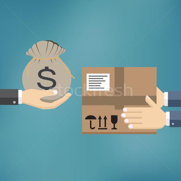 Házhozszállítás szolgáltatás emberi kéz tart táska pénz Stock fotó © Neokryuger