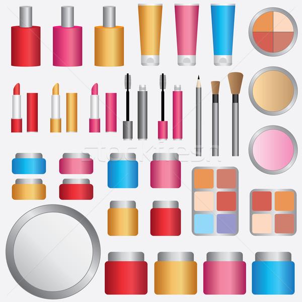 Cosmetici set trucco bianco colore pennello Foto d'archivio © Neokryuger