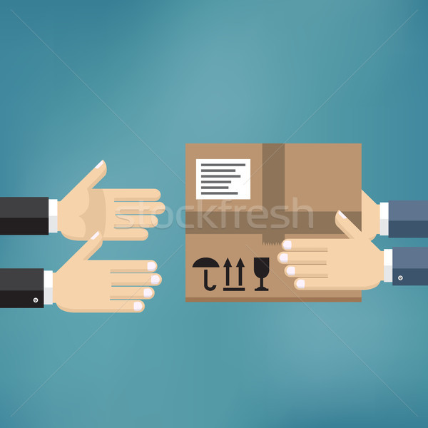 Handen karton pakket ander levering hand Stockfoto © Neokryuger