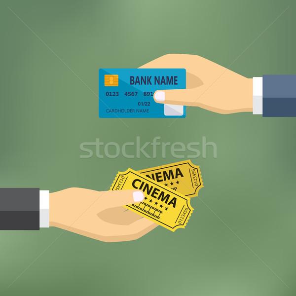 Ręce karty kredytowej kina bilety ecommerce wektora Zdjęcia stock © Neokryuger