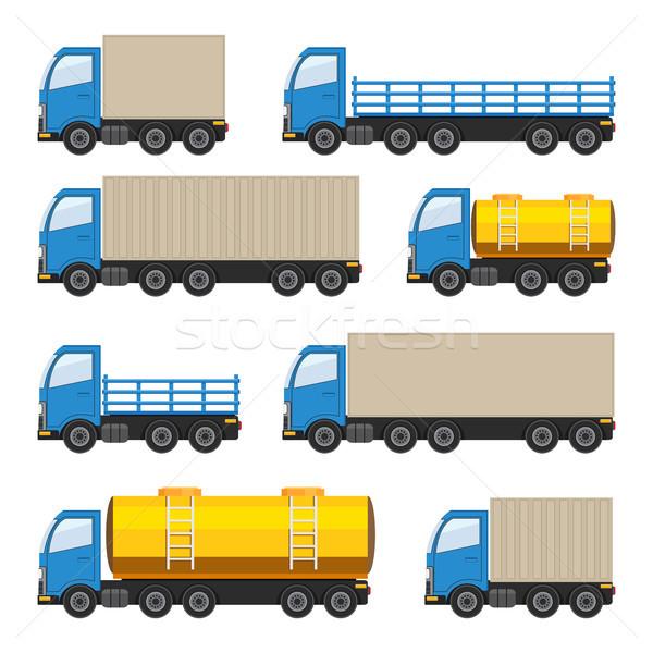 Ingesteld vrachtwagens zwaar brandstof vector eps10 Stockfoto © Neokryuger