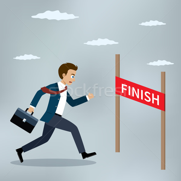 Businessman running to the finish line. Stock photo © Neokryuger