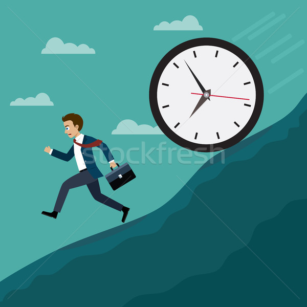 Businessmen run away from the big clock. Stock photo © Neokryuger