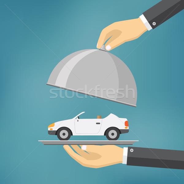 Main argent plateau voiture affaires Photo stock © Neokryuger