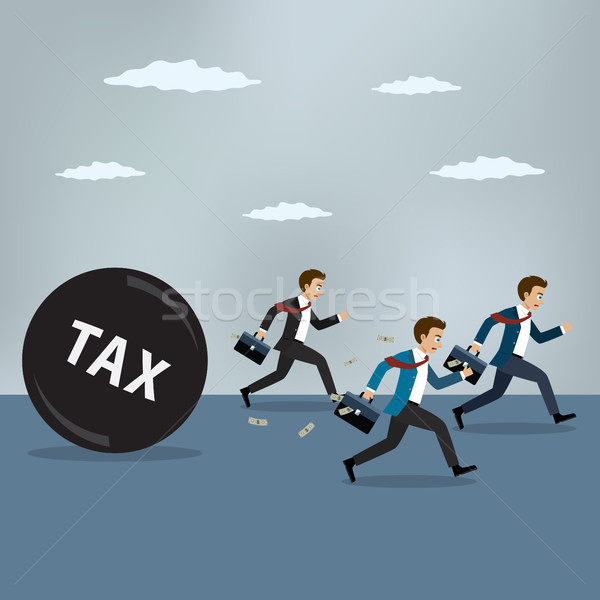 Businessmen run away from heavy tax. Stock photo © Neokryuger