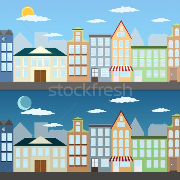 Verano paisaje urbano ilustración día noche negocios Foto stock © Neokryuger